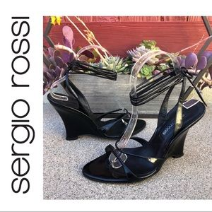 SERGIO ROSSI~Black Ankle Wrap Wedge Sandals~7/7.5